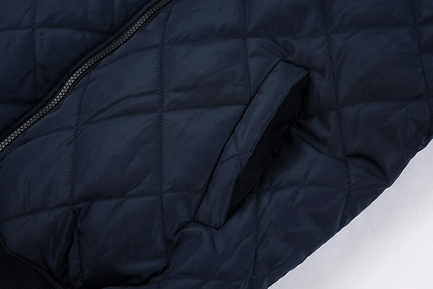 Gemijacka Mens Cotton Quilted Jackets Casual Varsity Bomber Jacket Full Zip Up Winter Warm Outwear
