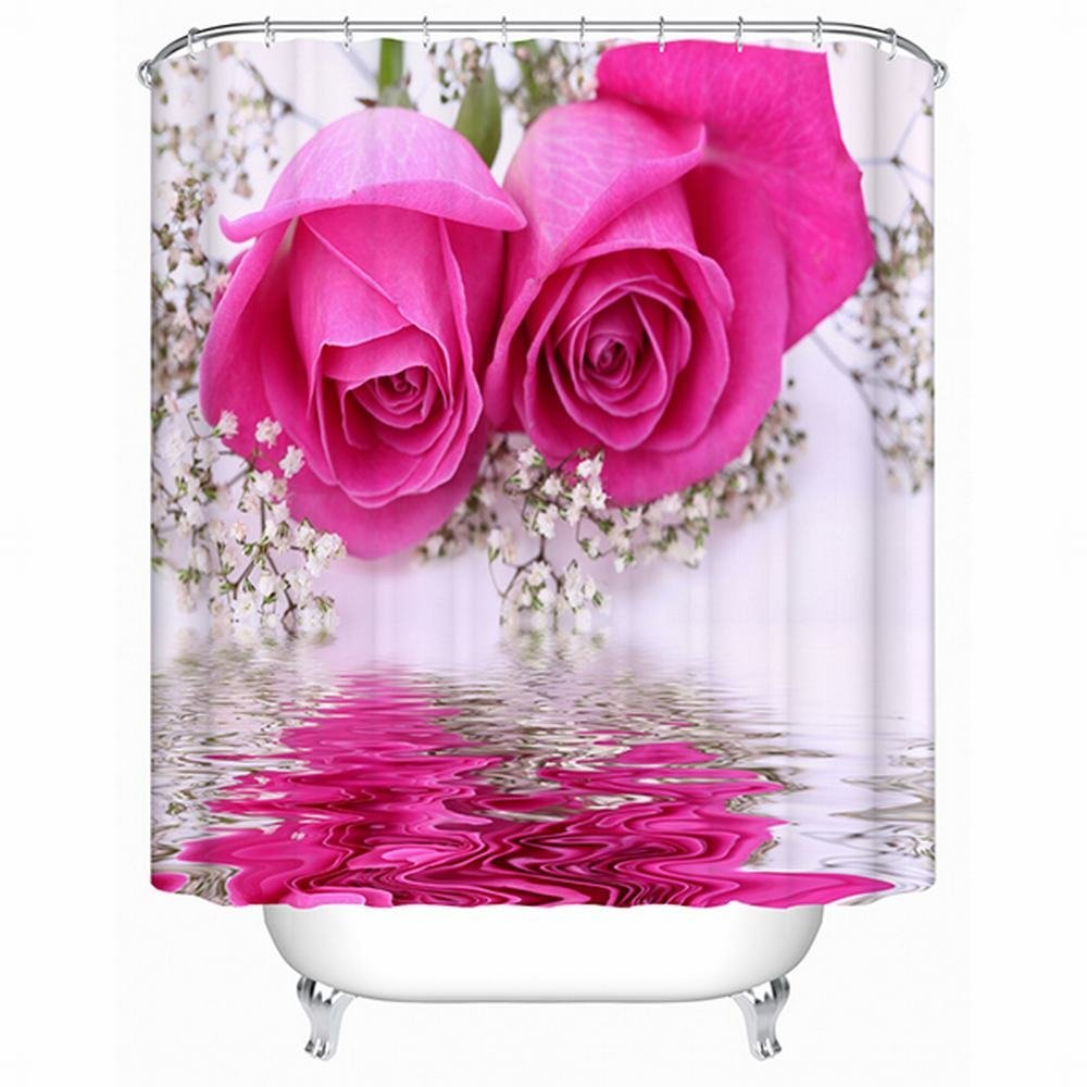 Amazon Alicemall 3d Flower Shower Curtain Beautiful Pink Rose
