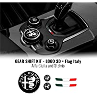 4R Quattroerre.it 32772 Kit Sticker Alfa Romeo Logo + vlag Italië voor binnen Giulia Stelvio