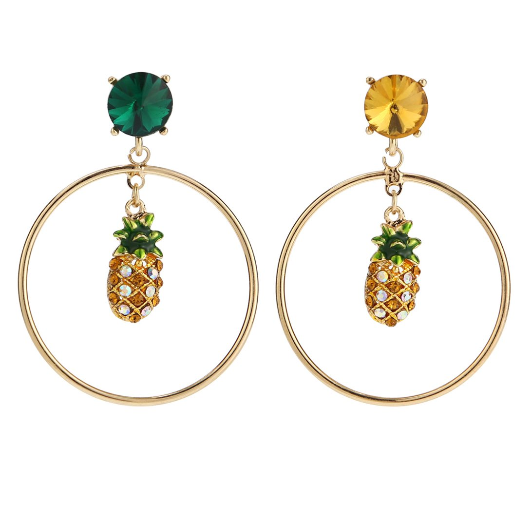 Sparkling Yellow Emerald Crystal Vintage Trendy Fruit Pineapple Earrings Stud Jewelry Sets For Women Girls (circles pineapple Earring)