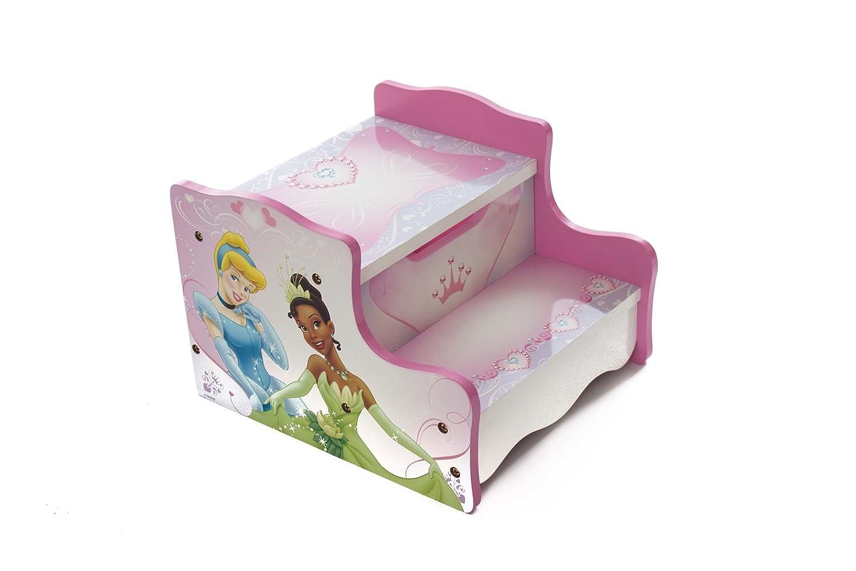 Disney, scaletta in legno per bambini, con motivo con principesse Disney, arredamento per stanze da letto e stanze dei giochi, colore: rosa