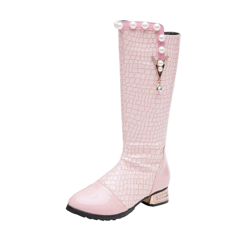 AHATECH Bottes Filles Hiver Boots en Cuir PU Chaussures Enfants Filles - Rose, 31