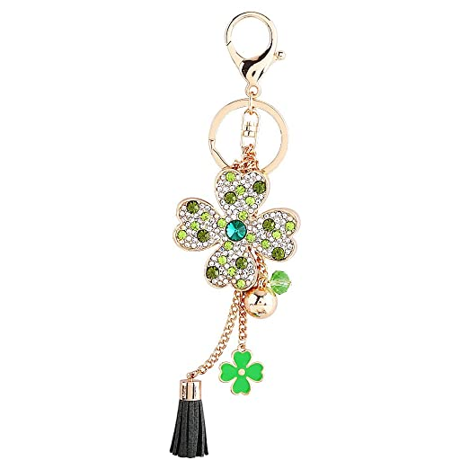 Wal front Crystal Keychain Lucky Four Leaves Car Keyring Women Tassel Bag  Buckle Pendant(Green 1751e61b4f