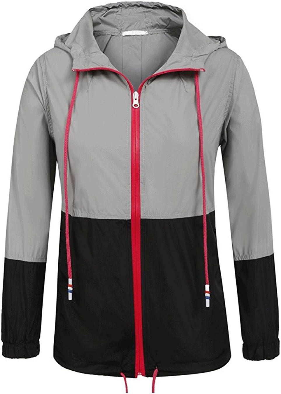 Hount Women Casual Lightweight Outdoor Waterproof Raincoat Hooded Rain Jacket XXL, Black