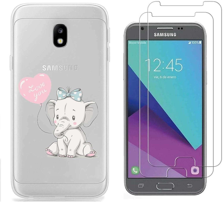 Coque Samsung Galaxy J3 2017 Éléphant mignon Impression Souple TPU Silicone Anti-rayures Protection Arrière Étui Pour Samsung Galaxy J3 2017 SM-J330F ...