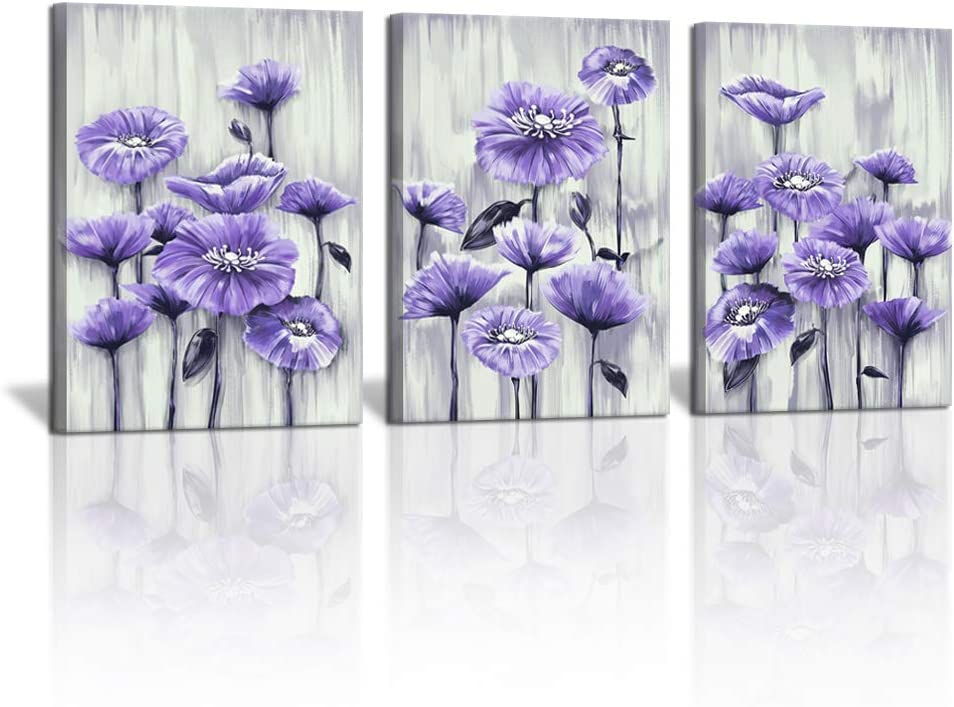 3 Panel Purple Flower Painting Canvas Wall Art for Girls Bedroom Abstract Floral Picture Purple Poppy Artwork Bathroom Wall Decor for Home Kitchen Ready to Hang 12