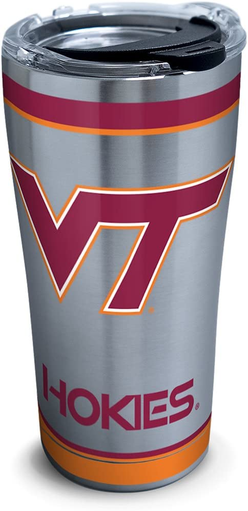 Amazon Com Tervis Virginia Tech Hokies Tradition Stainless Steel Insulated Tumbler With Clear And Black Hammer Lid 20 Oz Silver Tumblers Water Glasses