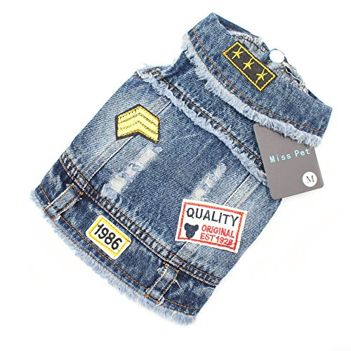 Miss Pet Fashion Dog Cothes Cool Denim Coat Spring And Summer Dog Clothing Jean Jacket (XS)