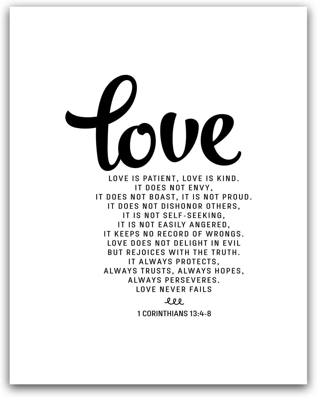Love is Patient, Love is Kind, 1 Corinthians 13:4-8 Bible Verse Wall Art, Scripture Poster Decor, Christian Quote Gift, Religious Print Sign, Scandinavian Calligraphy Artwork, Big Nordic Home 11x14