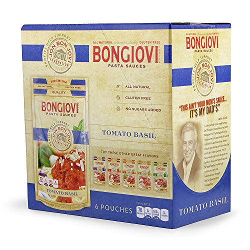Official Bongiovi Brand Pasta Sauce - Tomato Basil - 9oz Pouches (2 serving size) [6-PACK] Grab and Go - just pour, heat and eat