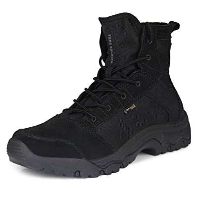 FREE SOLDIER Men's Work Boots 6 inch Lightweight Breathable Military Tactical Desert Boots for Hiking (Black 11.5 US): Sports & Outdoors