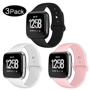 Kmasic Correa para Fitbit Versa/Versa Lite, Pulsera de Repuesto de Silicona Suave para Fitbit Versa Fitness Smartwatch, Grande Pequeño: Amazon.es: Deportes y aire libre