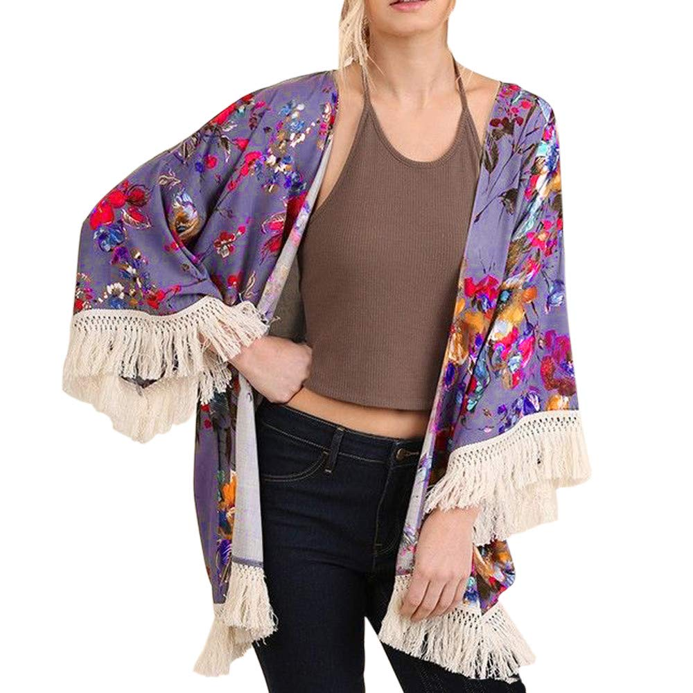 NUWFOR Womens Three Quarter Sleeve Floral Printed Shawl Tassel Kimono Cover Up Cardigan(Purple,L) by NUWFOR (Image #1)