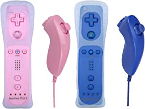Poulep Gesture Controller and Nunchuck Joystick for Wii Wii U Gamepad Console with Motion Plus (2 Packs, Pink and Deep Blue)