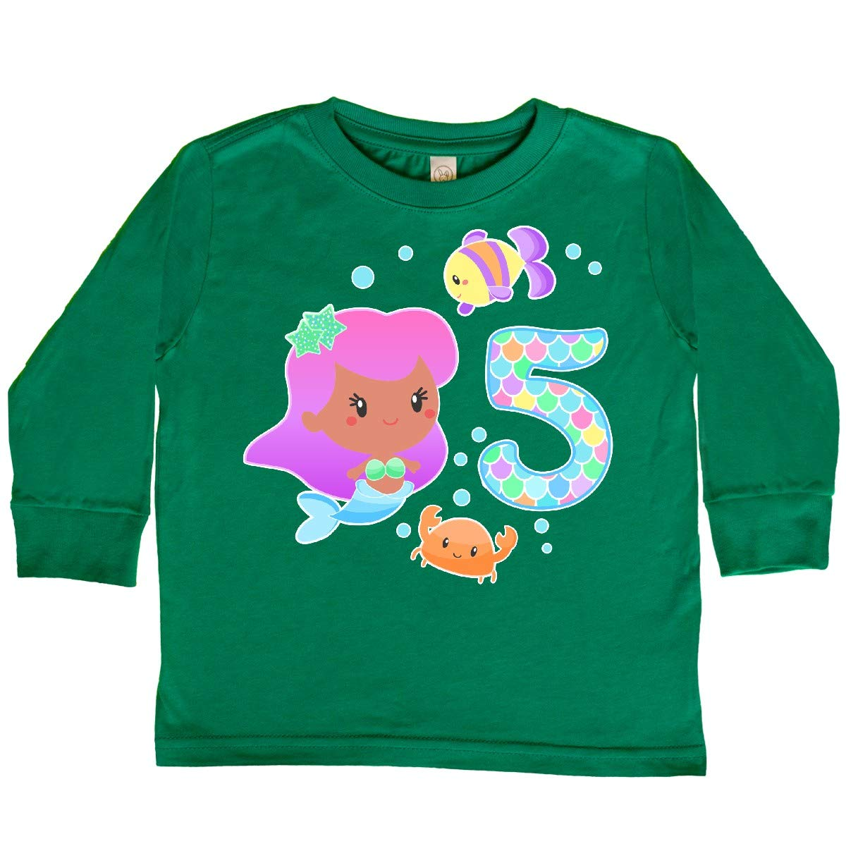 inktastic Fifth Birthday Mermaid with Fish and Crab Toddler Long Sleeve T-Shirt