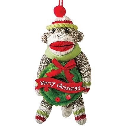 Amazon.com: Midwest-CBK Cute Yarn Sock Monkey w/Wreath Classic Toy ...