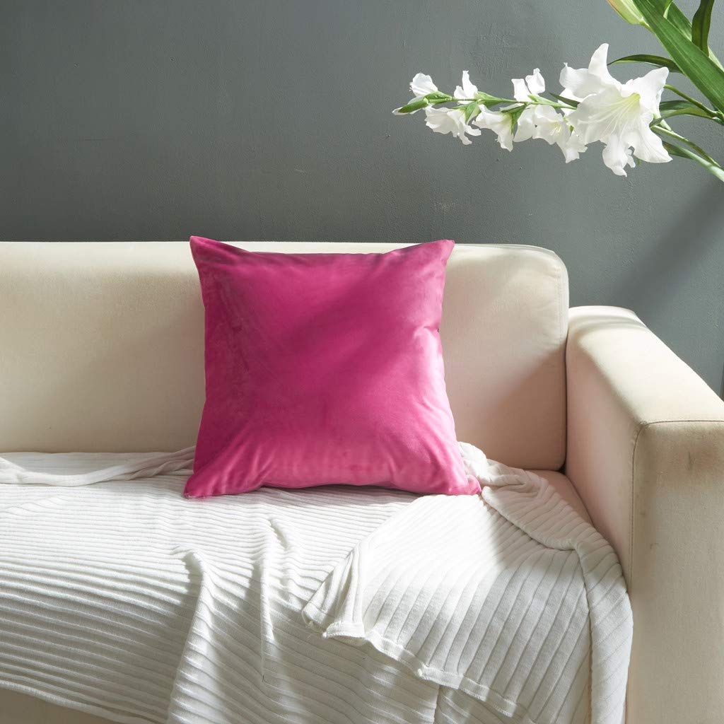 Weiliru Velvet Pillow Covers Decorative Square Pillowcase,45cmx45cm Soft Soild Dark Blue Cushion Case for Sofa Bedroom Car Couch
