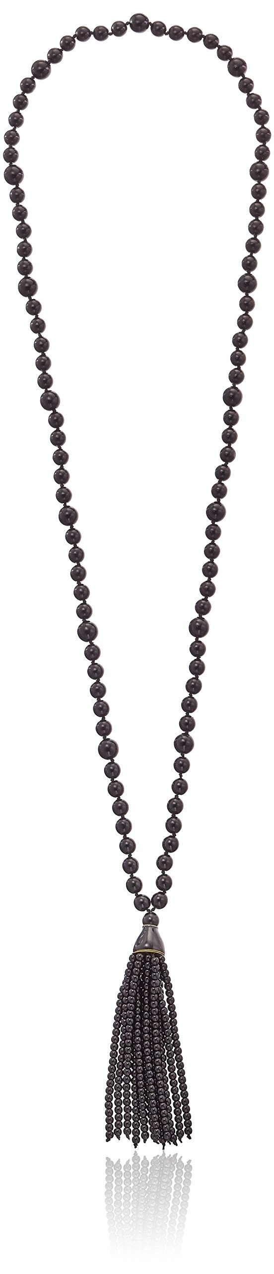 Kenneth Jay Lane Black Bead and Tassel Necklace, 30''