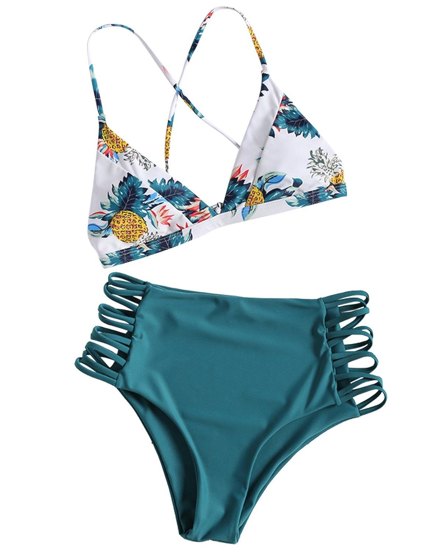 b79dddfb6928c Amazon.com  ZAFUL Women s Pineapple Print Bikini Set Criss Cross High  Waisted Cut Out Two Pieces Swimsuit Bathing Suit  Clothing