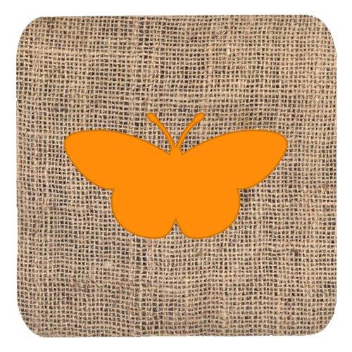 Caroline's Treasures BB1044-BL-OR-FC Butterfly Burlap and Orange Foam Coasters (Set of 4), 3.5' H x 3.5' W, Multicolor
