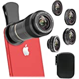 Cell Phone Camera Lens Kit, Vorida 5 In 1 HD Lens Kit 12X Telephoto Lens + 198° Fisheye Lens + 0.6X Wide Angle Lens + 15X Macro Lens, Clip-On for iphone 8 7 6s plus 5, Samsung & Most Smartphone