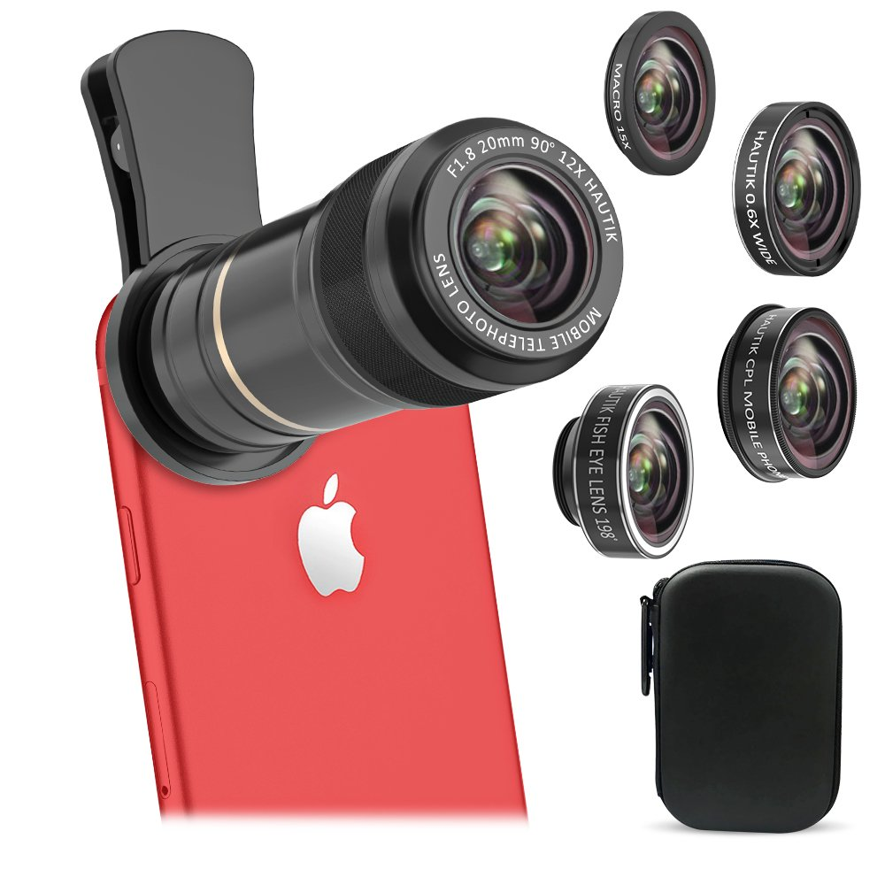 Vorida 6 in 1 Cell Phone Camera Lens, 12X Telephoto Lens + 198° Fisheye Lens+ 0.6X Wide Angle Lens+ 15X Macro Lens+ Tripod+ Remote Shutter for iPhone X 8 7 6 Plus, Samsung, etc (Black)