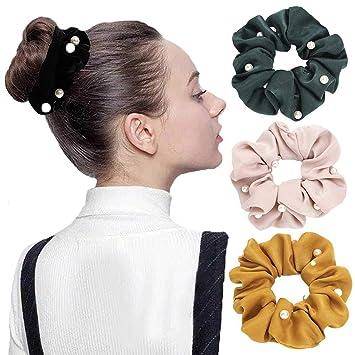 Ladies Pearl Hair Tie Band Rope Elastic Bun Ponytail Holders Hair Scrunchies