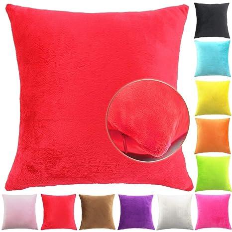 Easondea Fundas de Cojín de Color sólido Square Decorativos para Sofá Cama Coche Fundas Cojines Funda de Almohada Rojo 60X60CM