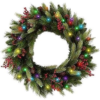 Amazon.com: Cordless LED Pre-lit Cone & Berry Christmas Wreath ...