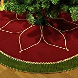 "Valery Madelyn 48"" Traditional Red and Green Christmas Tree Skirt with Flower Design,Themed with Christmas Ornaments (Not Included)"