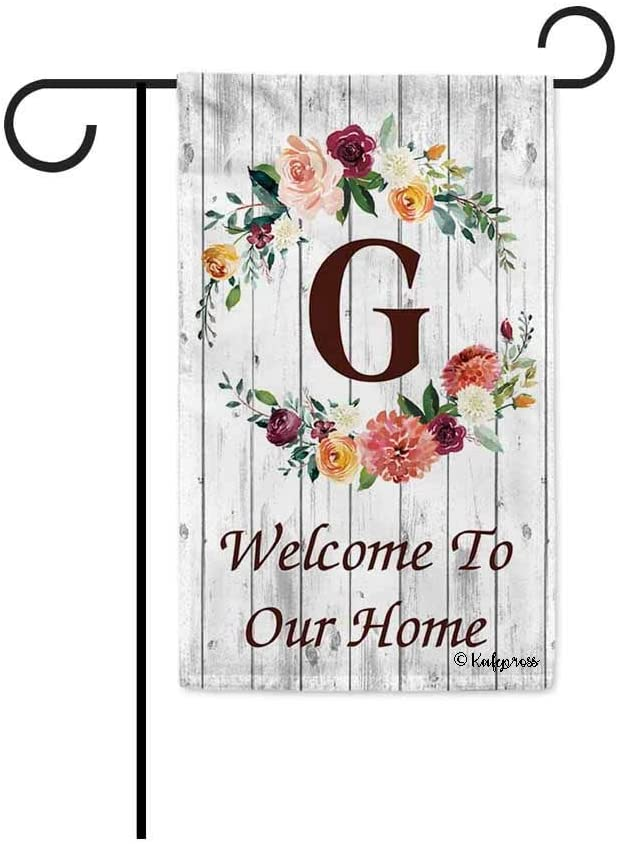 KafePross Hello Spring Flowers Summer Initial Letter Monogram G Garden Flag Welcome to Our Home Warminghouse Decor Banner for Outside 12.5X18 Inch Double Sided