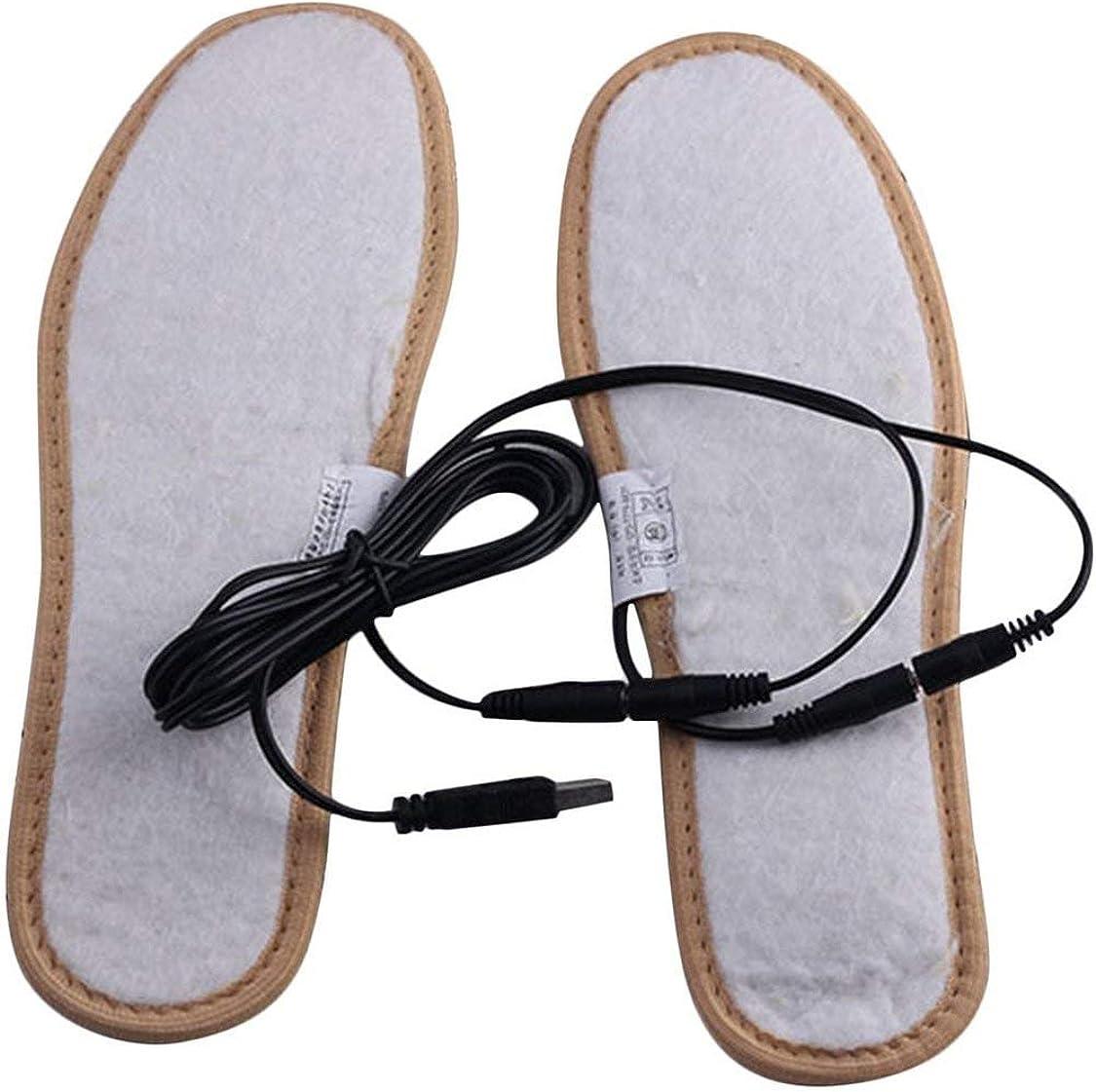 1 Paire de Semelles int/érieures chauffantes USB pour Le Chauffage /électrique en Fourrure Moelleuse en Peluche pour Garder au Chaud Les Pieds au Pied de Chaussures pour Hommes Femmes Kaki 38-39