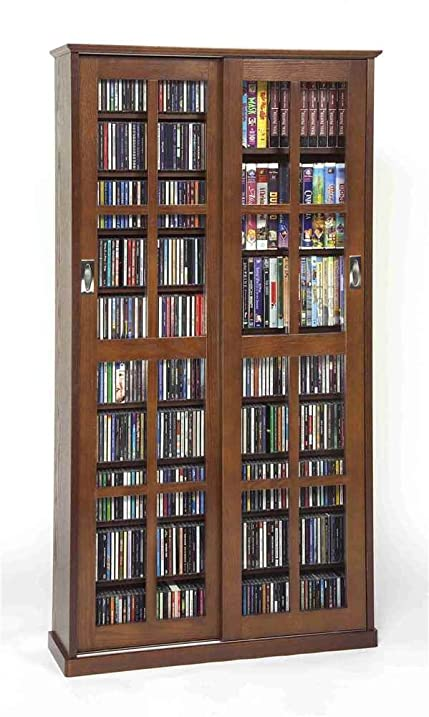 Leslie Dame MS 700W Mission Multimedia DVD/CD Storage Cabinet With Sliding  Glass Doors