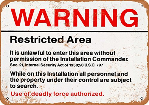 Wall-Color 9 x 12 Metal Sign - Warning Restricted Military Area 51 - Vintage Look Reproduction from Wall-Color