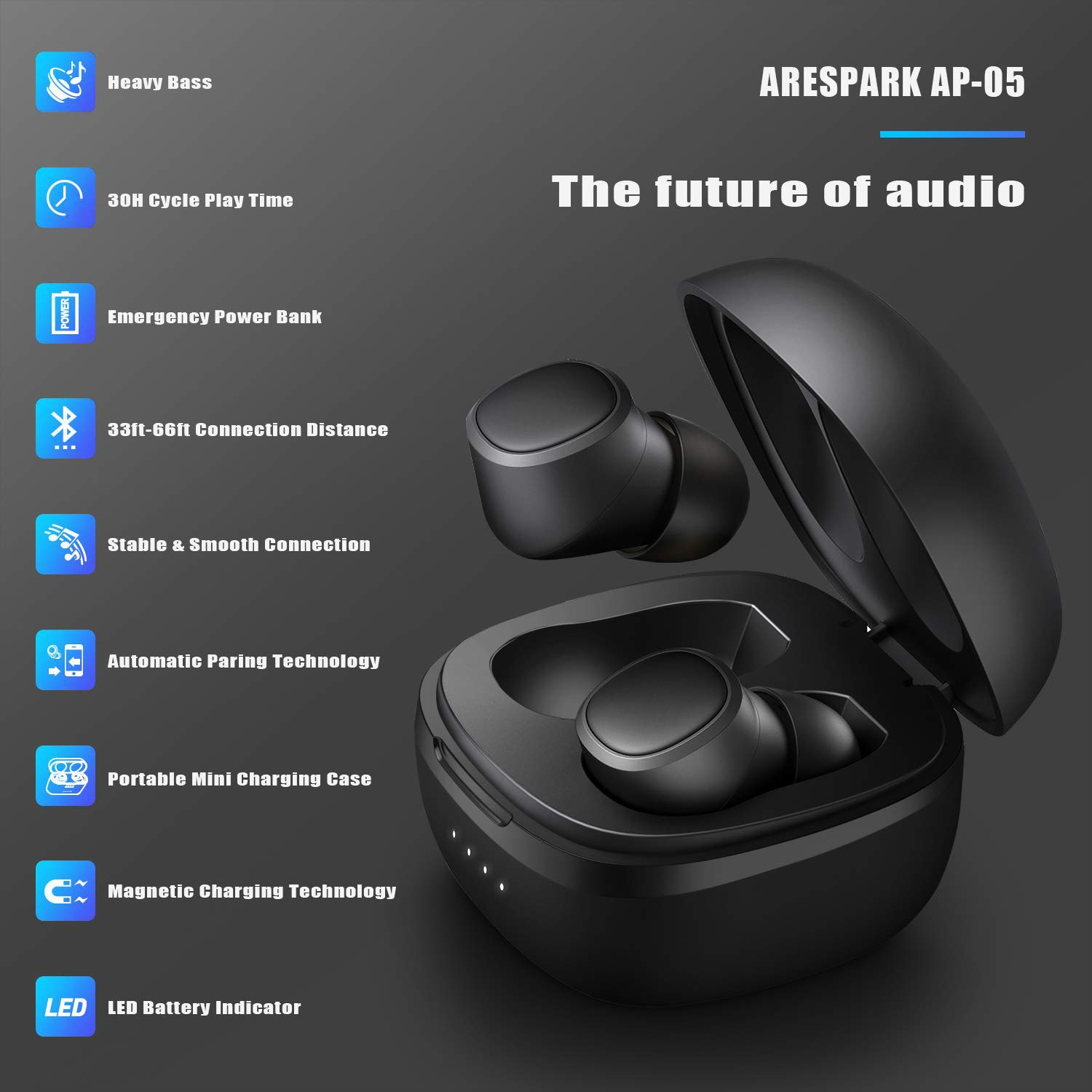 Bluetooth Earbuds, Arespark AP-05 True Bluetooth V5.0 Auto Pairing Headphones IPX6 Waterproof 30H Playtime Deep Bass Stereo with Portable 550mAh Charging Case