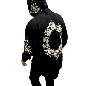 Eever Design Parfait Sweats con capucha para hombres, Pull con flores estampado de flores, - Sudadera con capucha amplio para (color: Black, talla: Medium): ...