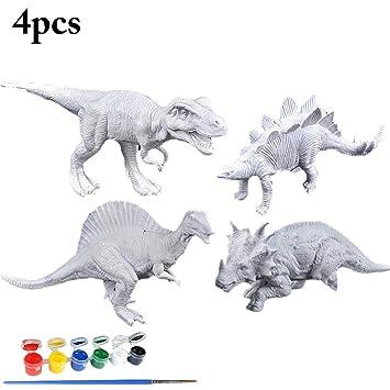 Joyibay 4 Piezas Modelo De Dinosaurio Para Niños Dinosaurio De Juguete Para Colorear Pintura Dinosaurio De Juguete Para Bricolaje