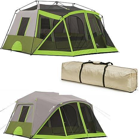 Easy&FunDeals - Tienda de campaña para 9 personas para camping con separadores, dos habitaciones, color gris y