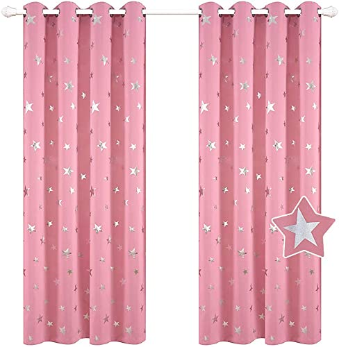 BUZIO Star Print Blackout Curtains for Kids Room and Game Room, Room Darkening Grommet Window Curtains for Naptime, 52 x 63 Inches, 2 Panels, Baby Pink