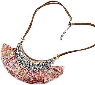 BUHBU Vintage Tassel Necklace for Women Big Ethnic Necklace Bohemia Long Choker Statement Necklace (Style 8)