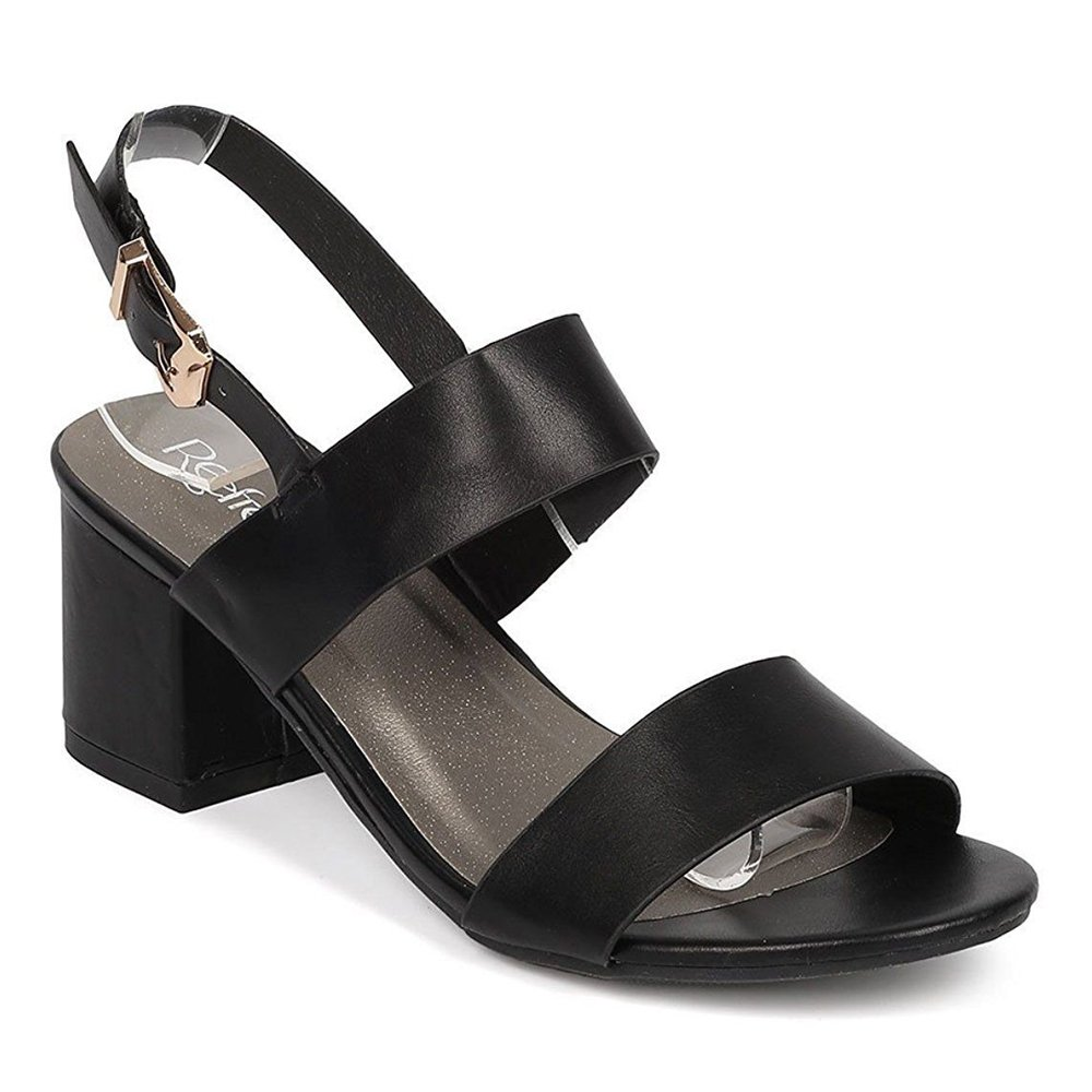 Women's Chunky Heel Sandal Ankle Strap Slingback Block Heeled Casual Summer Shoes Black 8