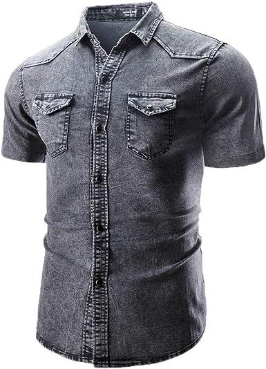 Camisa Vaquera de Manga Larga/Corta para Hombre - Slim Fit ...
