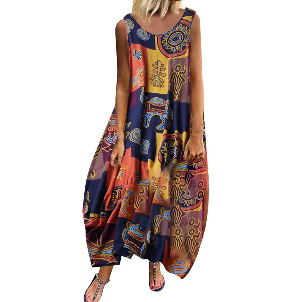 WENOVL Women Vintage Bohemian Print Floral Sleeveless O-Neck Straps Maxi Dress (Yellow-2, 2XL) by WENOVL