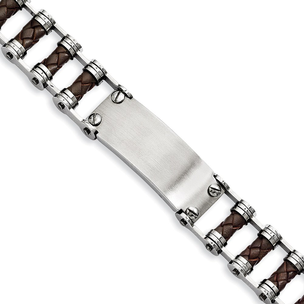 Lex & LU Meißel Edelstahl braun Leder wID Platte Armband 22