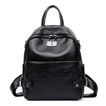Mochilas de Cuero para Mujer Femme Mochila de Viaje Mochila para Mujer Vintage Black Backpacks