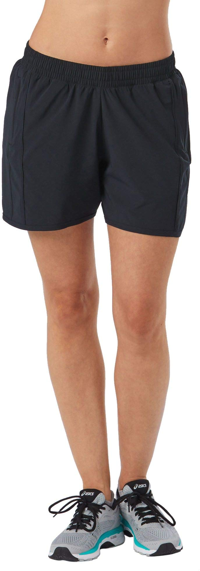 R-Gear Women's High Five Running Shorts 5-inch Length | Multiple Pockets with Zippers, Inner Brief Liner, Breathable Fabric, Black, S