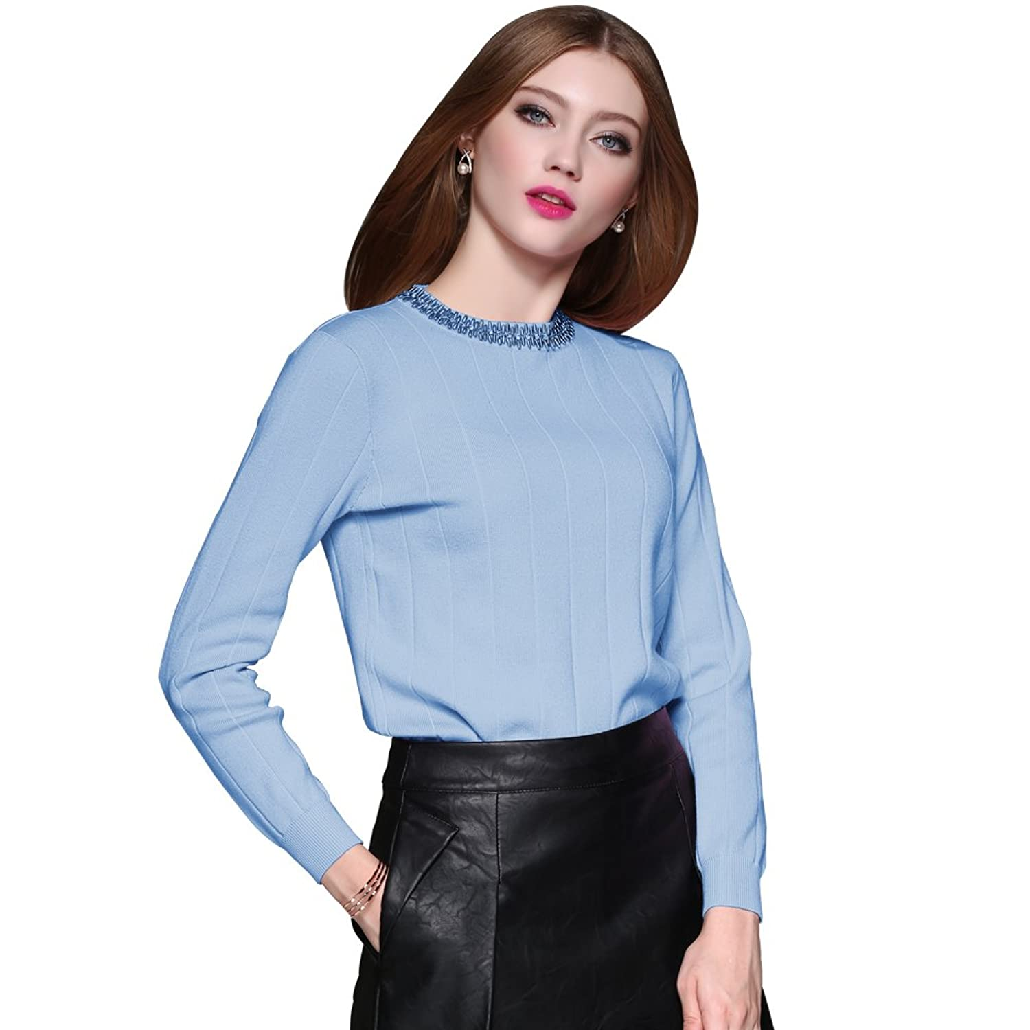 Soly Tech Women's Stylish Beaded Round Neck Pullover Knitted Sweater Shirts