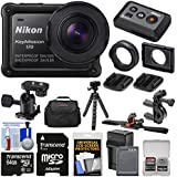 Nikon KeyMission 170 Wi-Fi Shock & Waterproof 4K Video Action Camera Camcorder + Remote + Handlebar/Helmet Mounts + 64GB + Battery/Charger + Case + Tripod Kit