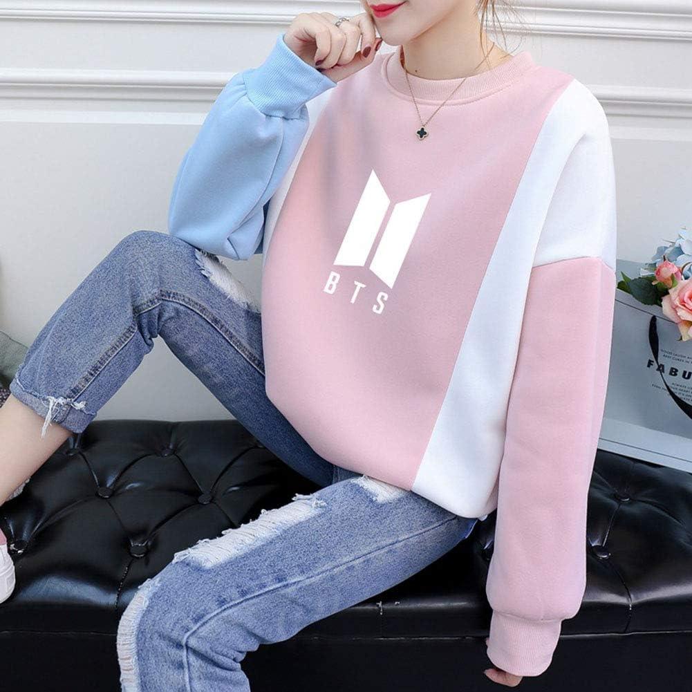 Pink-L Yuxareen Women Love Yourself BTS Sweatshirt Bangtan Boys Fans Kpop Cool Sweater Long Sleeve Pullover