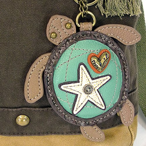 Canvas with Sea Crossbody Dark keyfob Brown Chala Bag Messenger Turtle Patchwork ASREqR